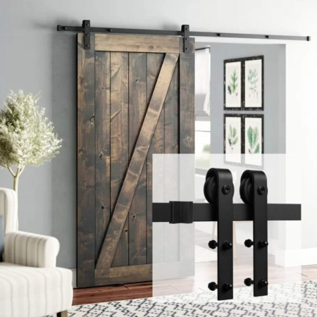 Rustic Sliding Barn Door Hardware Set with Jump-Proof Sliding Hardware