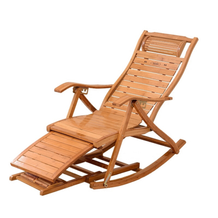 Comfortable Recreational Bamboo Rocking, Folding, & Reclining Chair