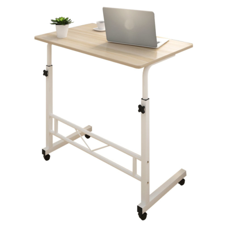 Portable Folding Table with Wheels, Suitable for Home & Offices w/ Adjustable Heights