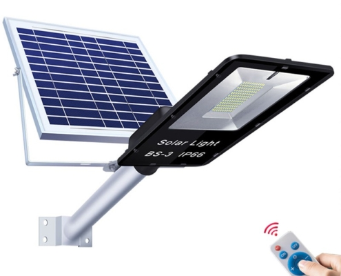 IP65 100W Remote Controlled Solar Powered Flood Lights with LED Bulbs