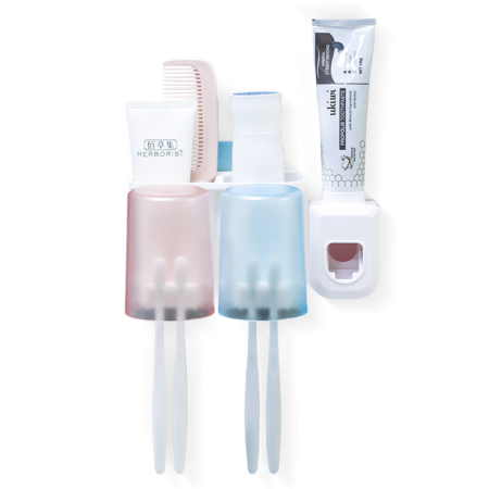 Wall-Mounted Toothbrush Holder with Three Cups and Three Additional Storage Slots