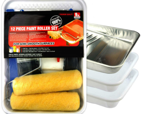 12-Piece Paint Roller Set with Brushes, Rollers, & Everything Needed for DIY Painting
