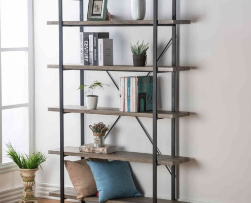 Open-Back, 5-Shelf Etagere Bookshelf