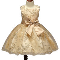 Designer One Piece Kids Clothes Online Golden Luxury Lace Embroidery Summer Frock Designs Girls Party Dresses -Kids clothing in Mombasa,Nairobi Kenya