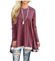 Women Lace Long Sleeve Tunic Top Blouse-Best Womens Clothes Online in Kenya