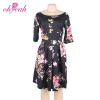 Fashion Midi Dress Black Floral Print Women Half Sleeve Casual Dress-Best Womens Clothes Online in Kenya