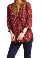Chic Maroon Lady Top Polka Dot Front Pocket Red Tunic in Kenya
