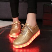 Women Shoes Shining Luminous Led Shoes With Light Party Shoes Light Up Sneakers Led Unisex Usb Charging Silver Glowing Sneakers