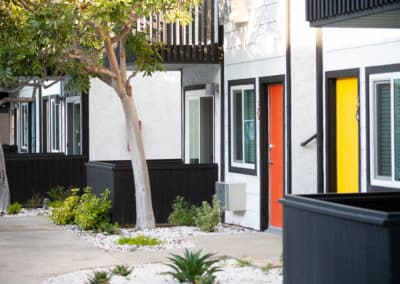 Apartment Units with Yellow and Orange Doors