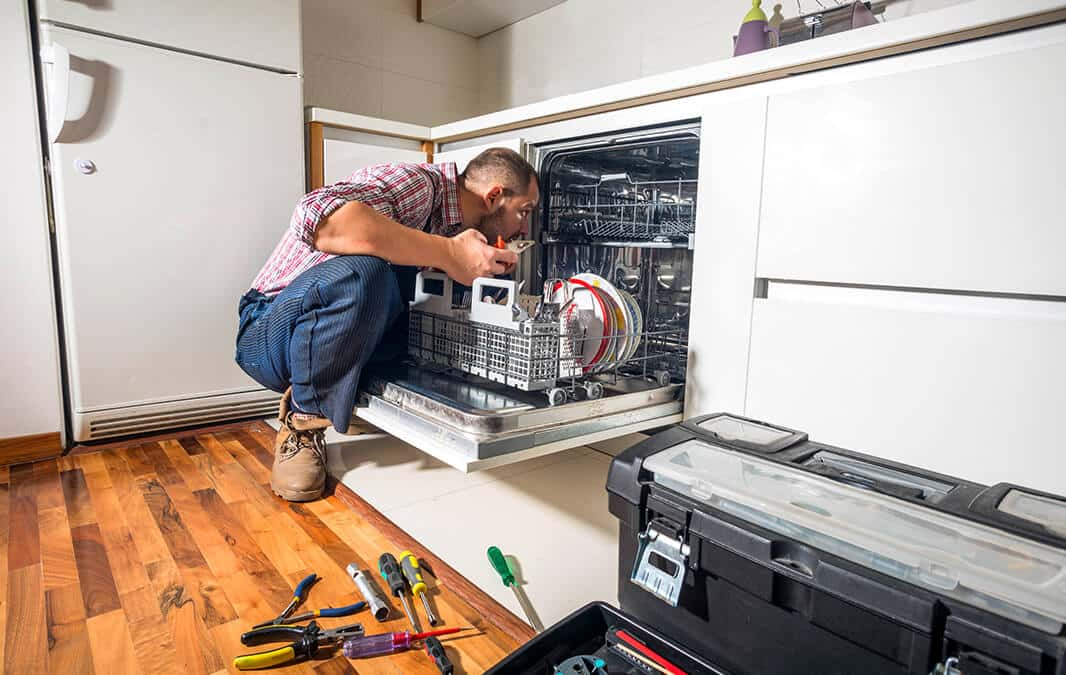 man checking the inside of a dishwasher
