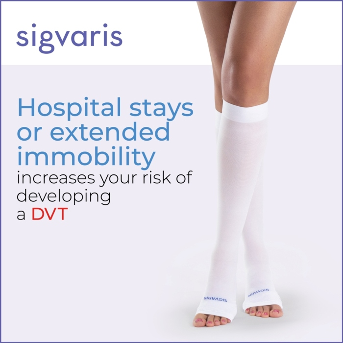 photo of knee length knee high open toe compression sock