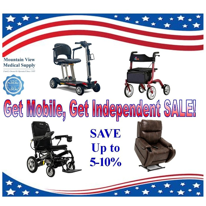 photo of Get Mobile, Get Independent Sale Nova Express Rollator, Atlas Plus Lift Chair, Buzzaround Carry-On Scooter, Jazzy Passport Electric Wheelchair