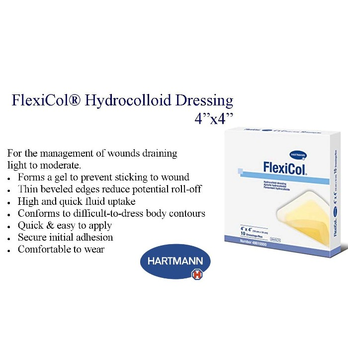 photo and description of FlexiCol Hydrocolloid dressing