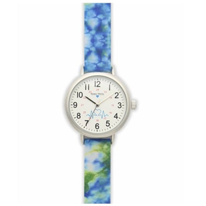 photo of Nurse Mates Watch with Seconds Hand in Blue Tie-Dye