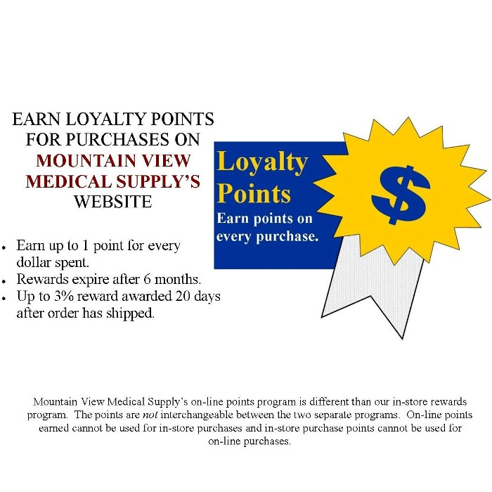 On-Line Loyalty Points Flyer for Mountain View Medical Supply website