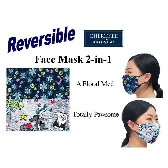 photo of Cherokee Facemask CK508-FLM1 Floral Med & Totally Pawsome Print