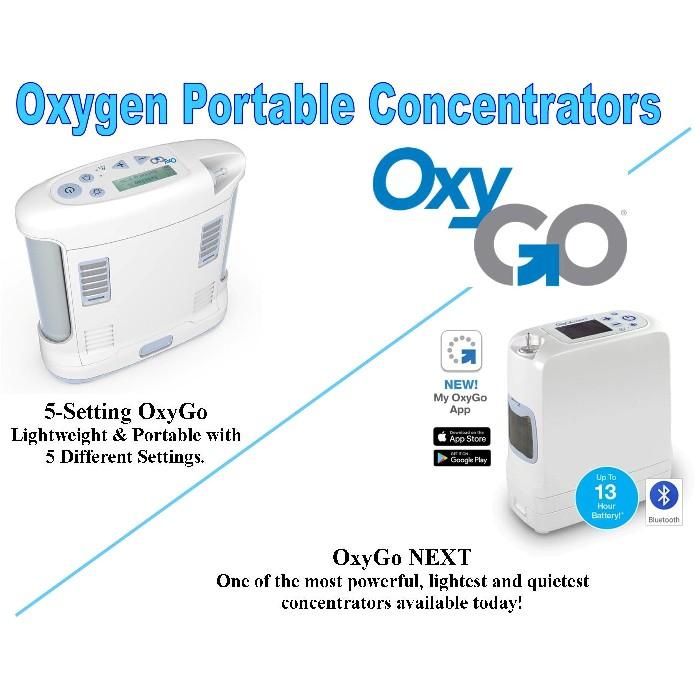 OxyGo 5-Setting & OxyGo NEXT Portable Oxygen Concentrators 1400-3000 & 1400-2000