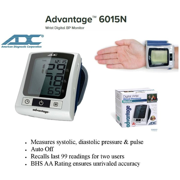 photo of ADC Advantage 6015N Wrist Digital Blood Pressure BP Monitor from Mountain View Medical Supply