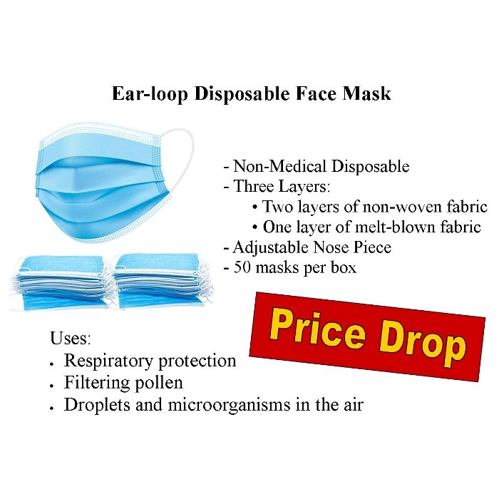 Ear-Loop Disposable Face Mask from Mountain View Medical Supply