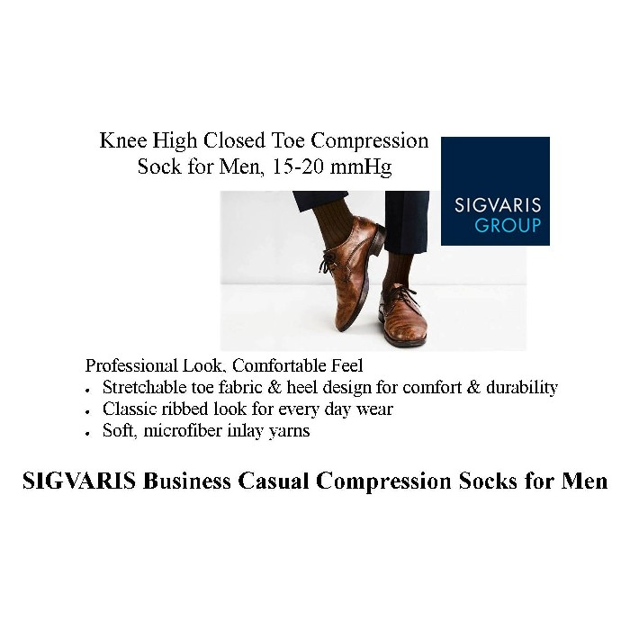photo of Sigvaris Men's Knee High Compression Sock Business Casual from Mountain View Medical Supply