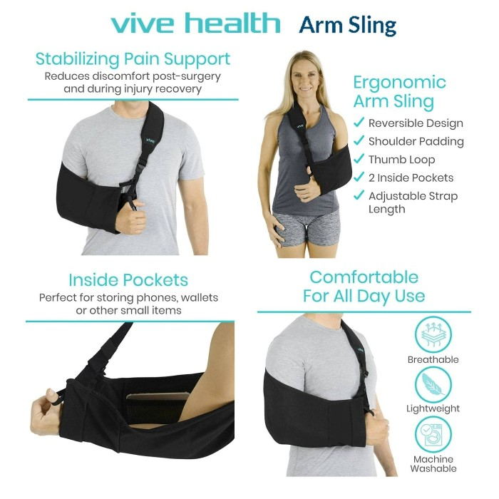 photo of Vive Health Arm Sling in use from Mountain View Medical Supply