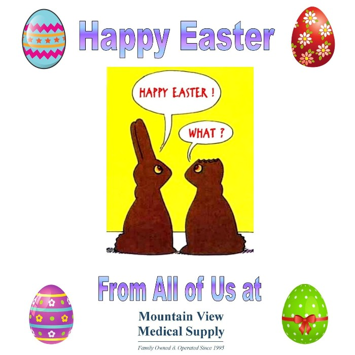 photo of chocolate Easter bunnies wishing everyone a Happy Easter from Mountain View Medical Supply