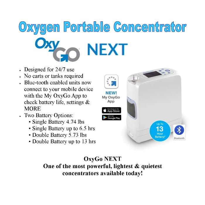 photo of OxyGo NEXT Portable Oxygen Concentrator 1400-3000 from Mountain View Medical Supply