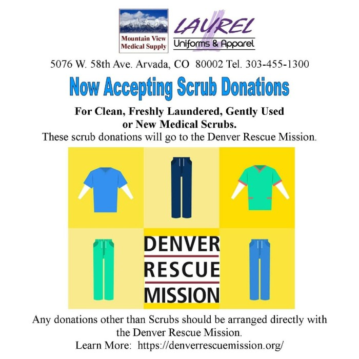 Accepting Scrub Donations for The Denver Rescue Mission at Mountain View Medical Supply & Laurel Uniforms & Apparel