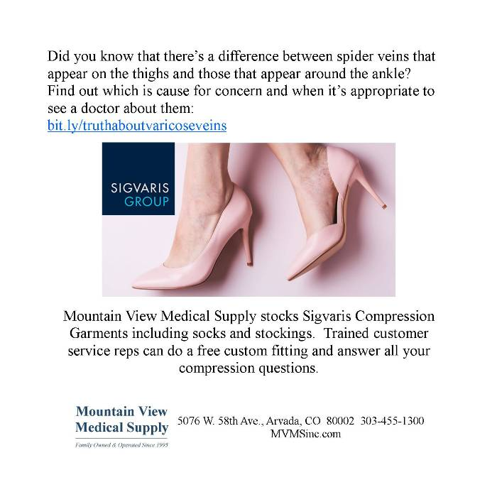 photo of Sigvaris Compression stockings and spider veins. Sigvaris Compressions from Mountain View Medical Supply