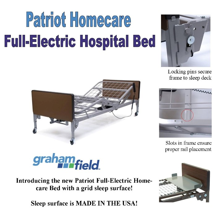photo of Graham Field Patriot Homecare Full Electric Hospital Bed US0458PL from Mountain View Medical Supply