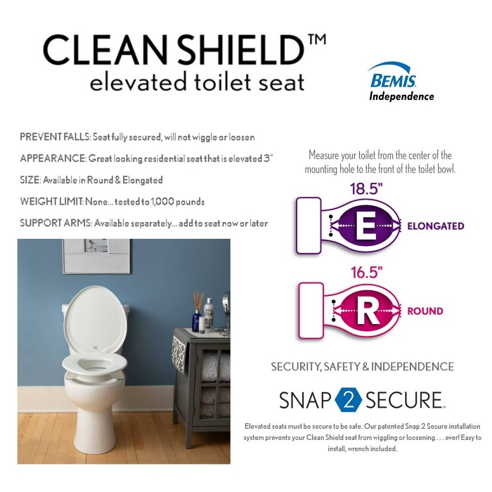 Bemis CleanShield Elevated Toilet Seat from Mountain View Medical Supply