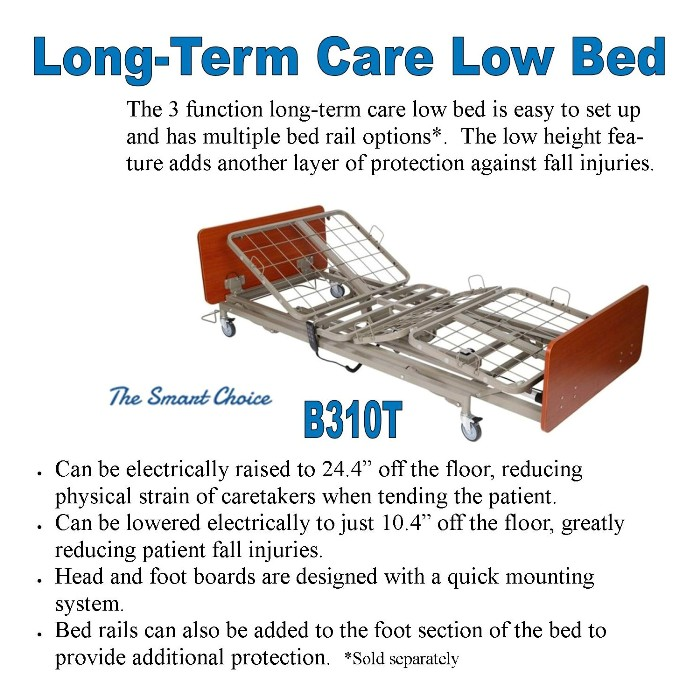 Costcare Long Term Care Low Hospital Rehabilitation LTC Bed B310T from Mountain View Medical Supply