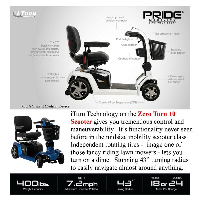 Pride Mobility Zero Turn 10 Scooter S710ZT from Mountain View Medical Supply