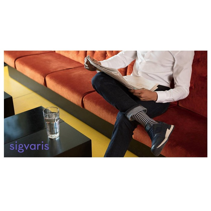 photo of Sigvaris Microfiber Patterns Compression Socks on Man in Mariner Stripe from Mountain View Medical Supply