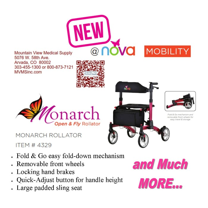 photo of Nova Monarch Open & Fly Rollator 4329 from Mountain View Medical Supply