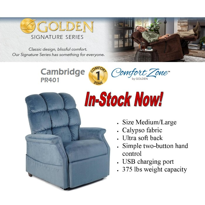 Photo of Golden Technologies PR401 Cambridge Lift Chair in Calypso PCA from Mountain View Medical Supply