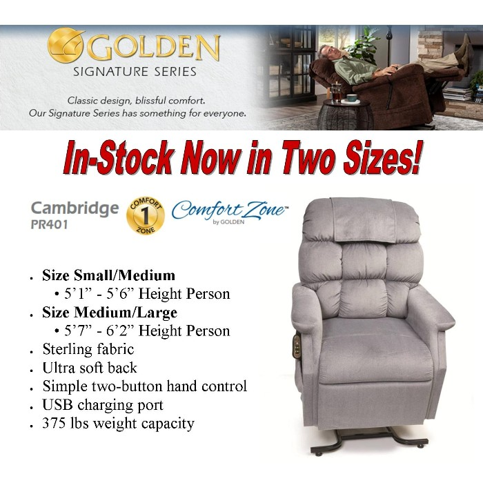 Photo of Golden Technologies PR401 Cambridge Lift Chair in Sterling PST from Mountain View Medical Supply