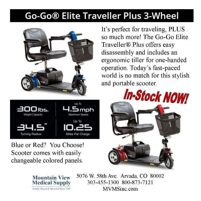 photo of Pride Mobility Go-Go Elite Traveller Plus 3-Wheel Mobility Scooter SC53 from Mountain View Medical Supply
