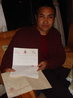 Respected Khenpo Chucheng Qupei verifies that the recognition letter of H.H. Dharma King Sakya Trizin was personally given to him and Venerable Baima Dorje Rinpoche by H.H. Dharma King Sakya Trizin.