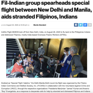 Fil-Indian group spearheads special flight between New Delhi and Manila
