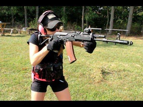 Erika Shooting the AK-74 Rifle