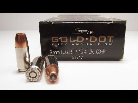Speer Gold Dot 9mm +P 124 Grain Ballistics Gel Test