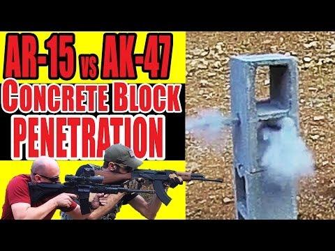 AR-15 vs AK-47 Concrete Block Penetration Test