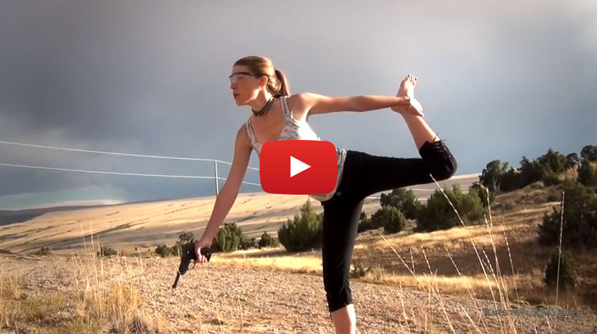 Kirsten Does Gun Yoga with the P38 Pistol