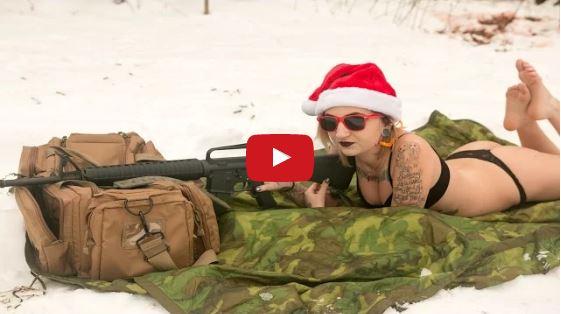 Cici Gray Spreading Christmas Cheer with a Colt AR-15 Rifle
