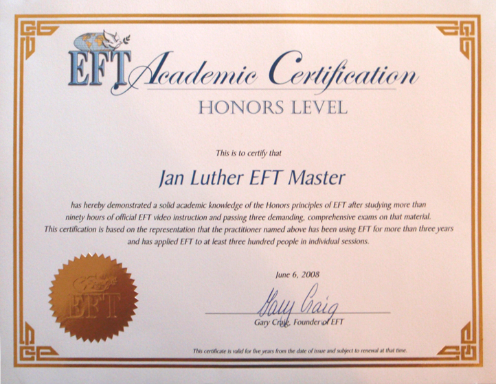 Jan Luther EFT Master Certificate