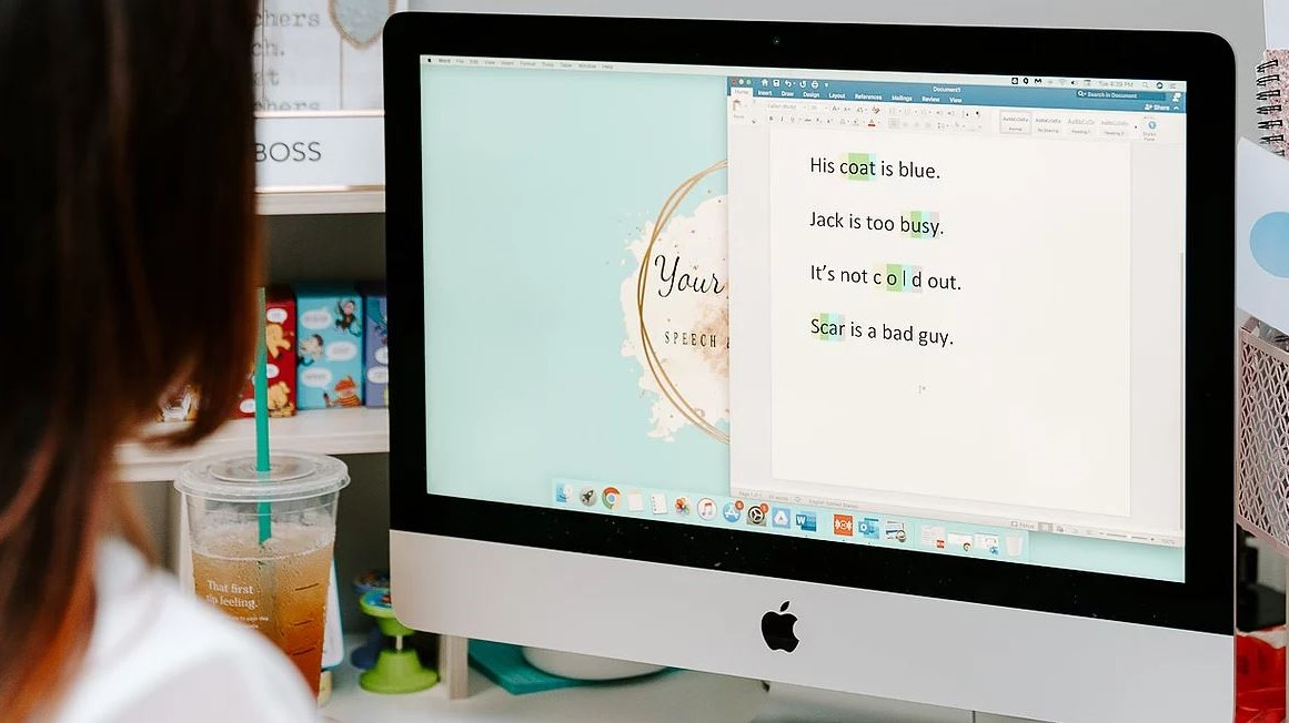Computer screen with short sentences written on it for kids to read
