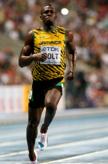 Usain Bolt of Jamaica in action