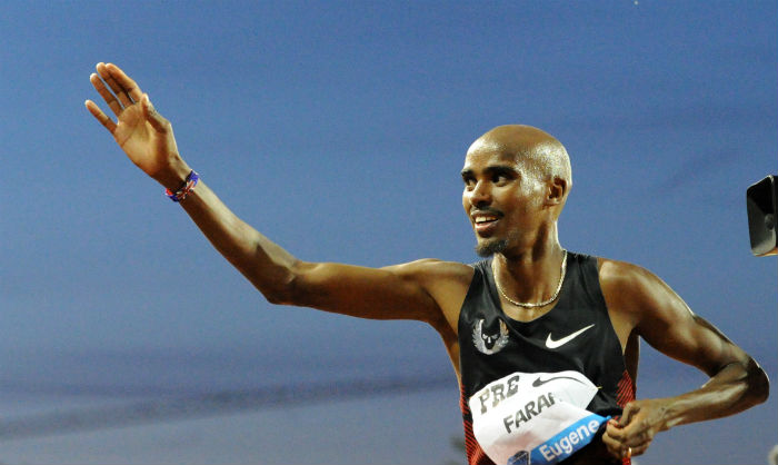 Mo Farah of Great Britain celebrates: Prefontaine Classic