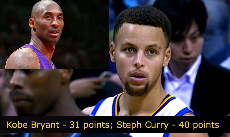 Kobe Bryant and Stephen Curry. NBA Scores